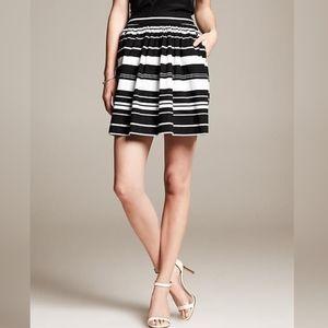 Banana Republic Black & White Striped Flared Skirt